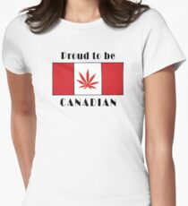 Canadian Flag Weed Womens Fitted T-Shirt
