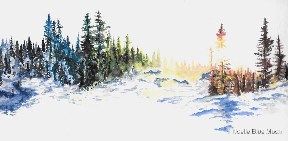 Evergreen Landscape Watercolour Painting by noellesawatzky
