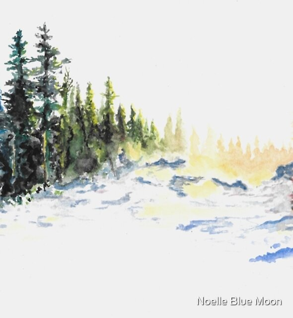 Evergreen Landscape Watercolour Painting by noellesawatzky