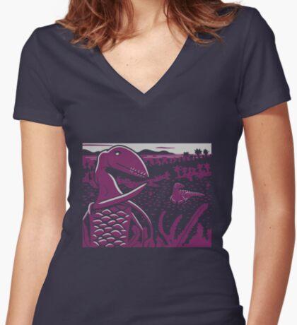 Dimorphodon and Scelidosaurus - Gray and Purple Women's Fitted V-Neck T-Shirt