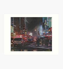 New York Night Lights in Snow Art Print
