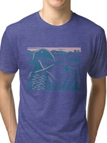Dimorphodon and Scelidosaurus - Purple and Blue Tri-blend T-Shirt