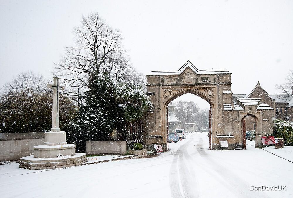 Snowy Gateway: West Norwood Cemetary, London, UK. by DonDavisUK