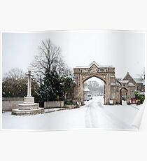 Snowy Gateway: West Norwood Cemetary, London, UK. Poster