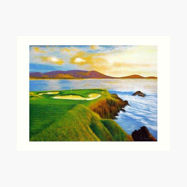 Beautiful acrylic on canvas of the 7th hole at Pebble Beach Art Print