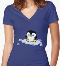 Penguin geek funny nerd Women's Fitted V-Neck T-Shirt