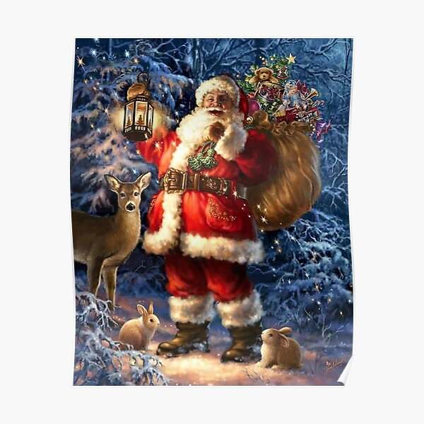 Vintage Santa In The Snow With Toys And Deer Poster