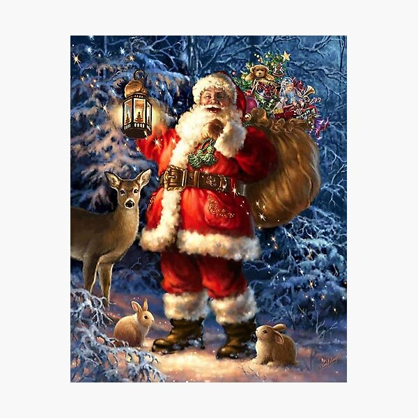 Vintage Santa In The Snow With Toys And Deer Photographic Print