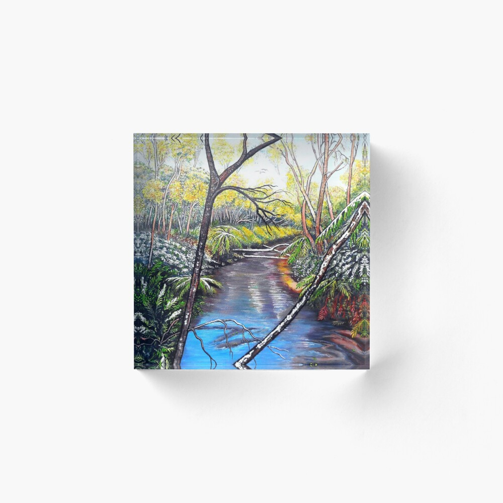 Snow at Katoomba Creek - Blue Mountains Acrylic Block