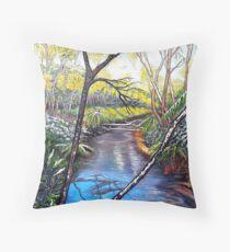 Snow at Katoomba Creek - Blue Mountains Throw Pillow