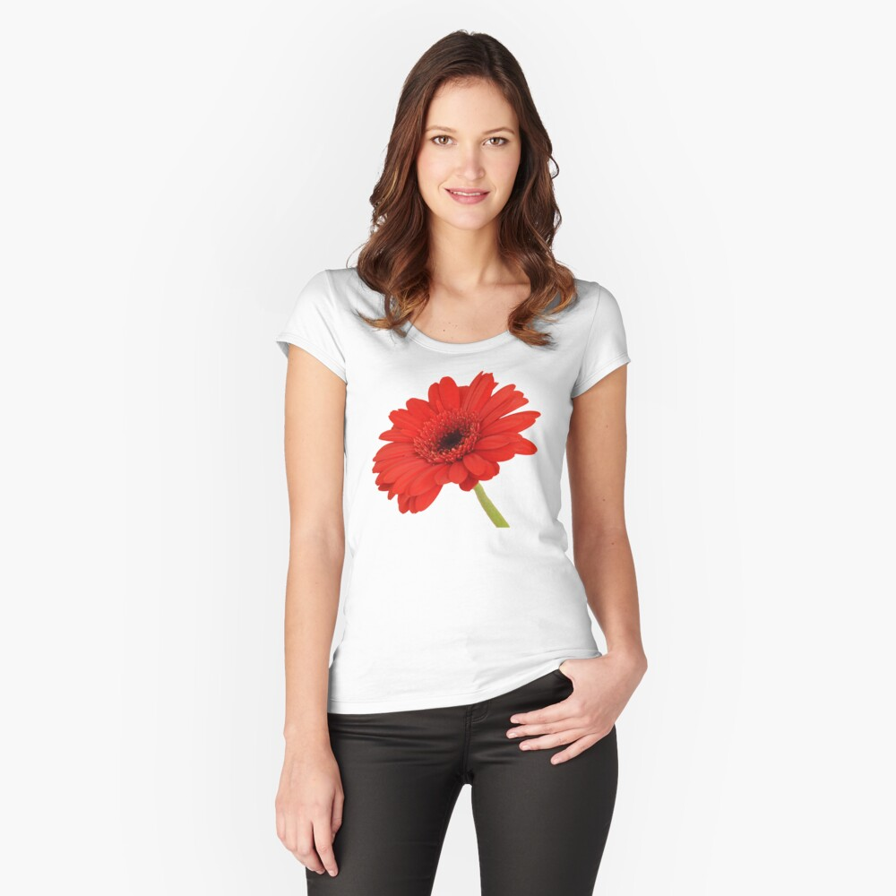 Red Gerbera Daisy Fitted Scoop T-Shirt