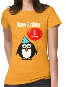 Personalized birthday card penguin with balloon geek funny nerd Womens Fitted T-Shirt