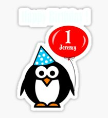 Personalized birthday card penguin with balloon geek funny nerd Sticker