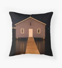 little boatshed on the river Throw Pillow
