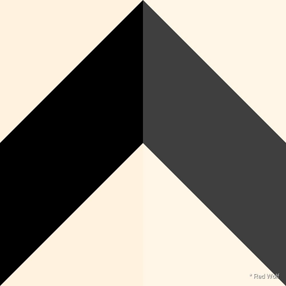 Geometric Pattern: Chevron: Light/Black/Cream by * Red Wolf