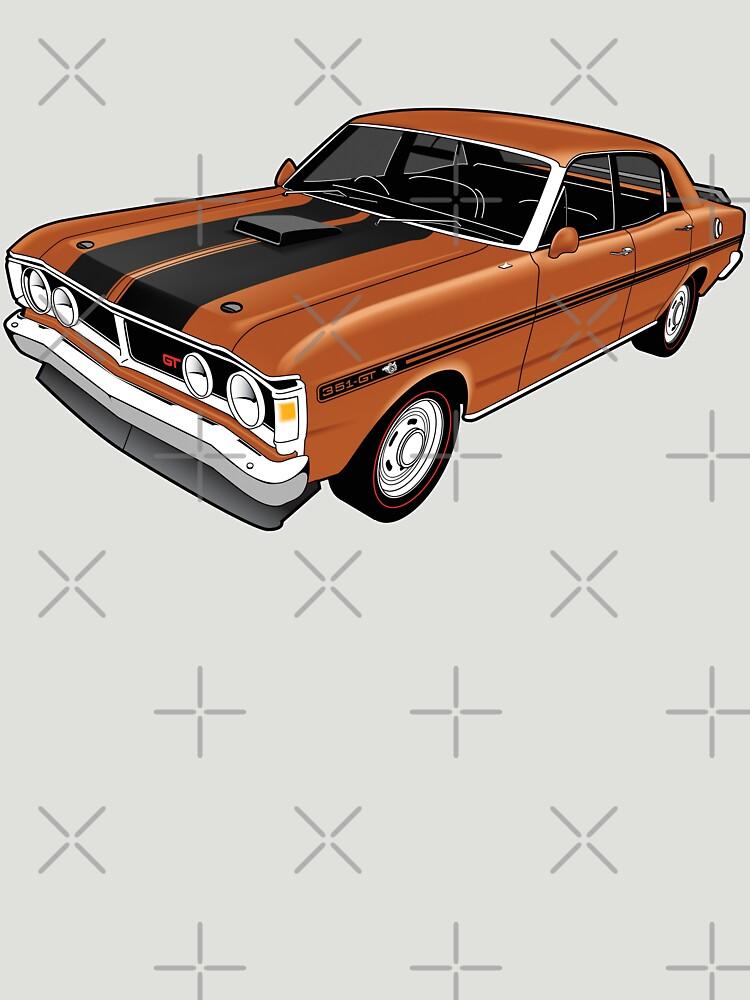 Ford Falcon XY GT - Nugget Gold by tshirtgarage