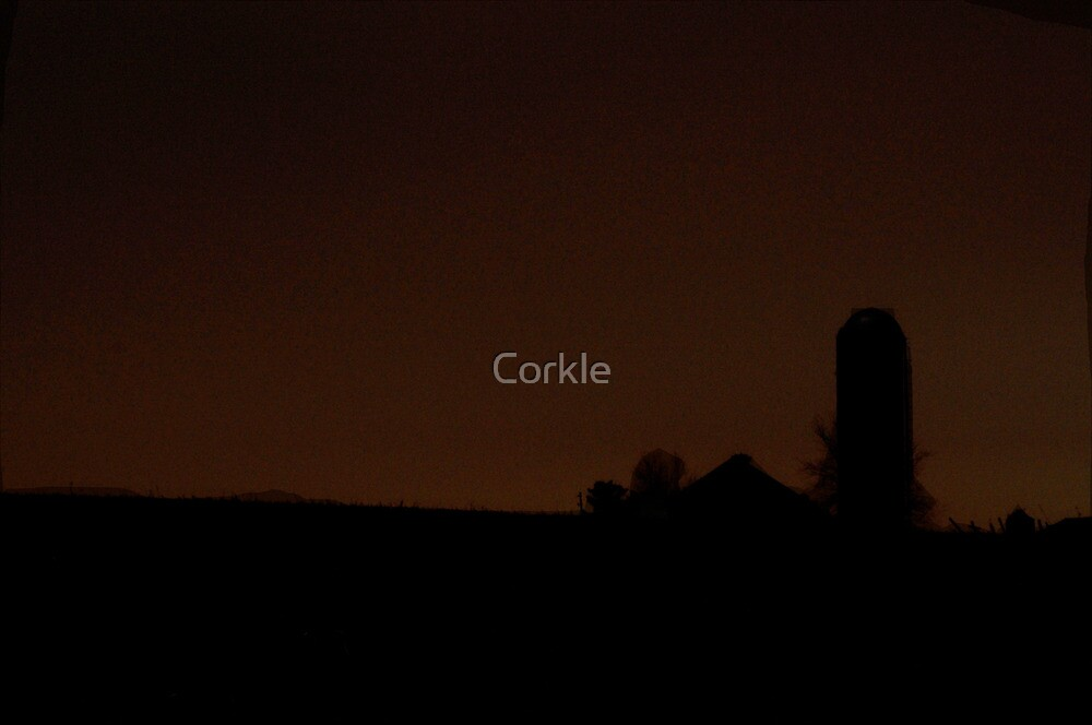 Country Farm at Nighttime by Corkle