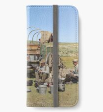 Texas cowboys in 1900 — a chuckwagon lunch during a cattle roundup iPhone Wallet/Case/Skin