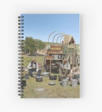 Texas cowboys in 1900 — a chuckwagon lunch during a cattle roundup Spiral Notebook