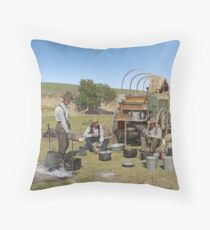 Texas cowboys in 1900 — a chuckwagon lunch during a cattle roundup Throw Pillow