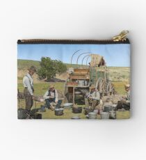 Texas cowboys in 1900 — a chuckwagon lunch during a cattle roundup Zipper Pouch