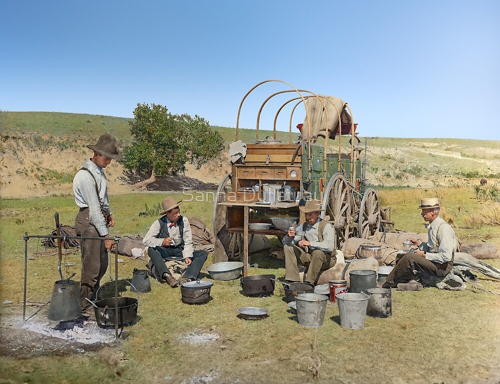 Texas cowboys in 1900 — a chuckwagon lunch during a cattle roundup by Sanna Dullaway