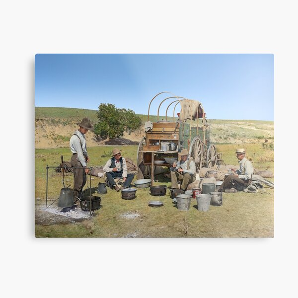 Texas cowboys in 1900 — a chuckwagon lunch during a cattle roundup Metal Print