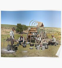 Texas cowboys in 1900 — a chuckwagon lunch during a cattle roundup Poster