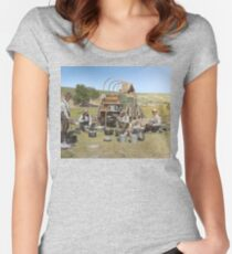 Texas cowboys in 1900 — a chuckwagon lunch during a cattle roundup Fitted Scoop T-Shirt