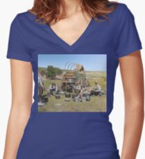 Texas cowboys in 1900 — a chuckwagon lunch during a cattle roundup Fitted V-Neck T-Shirt
