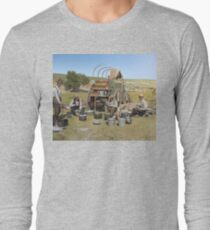 Texas cowboys in 1900 — a chuckwagon lunch during a cattle roundup Long Sleeve T-Shirt