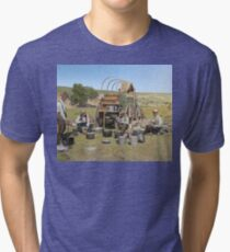 Texas cowboys in 1900 — a chuckwagon lunch during a cattle roundup Tri-blend T-Shirt