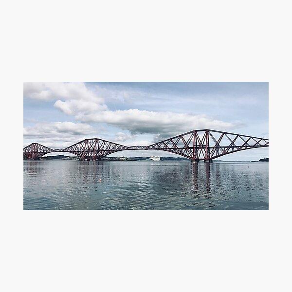 Forth Bridge with cruise ship Photographic Print