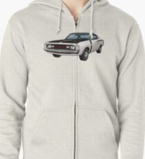 Chrysler Valiant VH Charger - White Zipped Hoodie