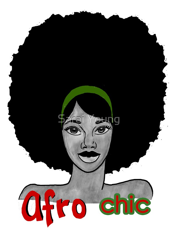 the afro chic stickers by sarai young redbubble. Black Bedroom Furniture Sets. Home Design Ideas