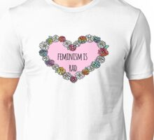 Feminism is Rad Heart - Pink Unisex T-Shirt