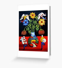Softvase with flowers and figures Greeting Card