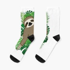Sweet sloth with plants in the background Socks