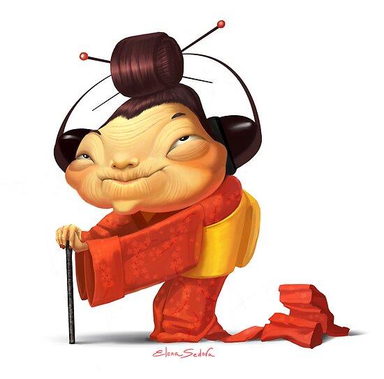 Japanese grandmother by Elena Sedova