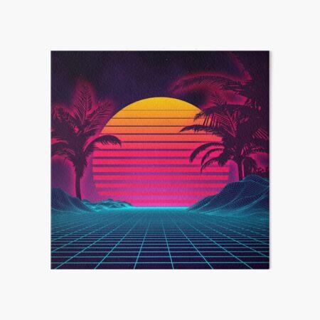 Retrowave 80's Sunset Palm Tree Landscape Art Board Print