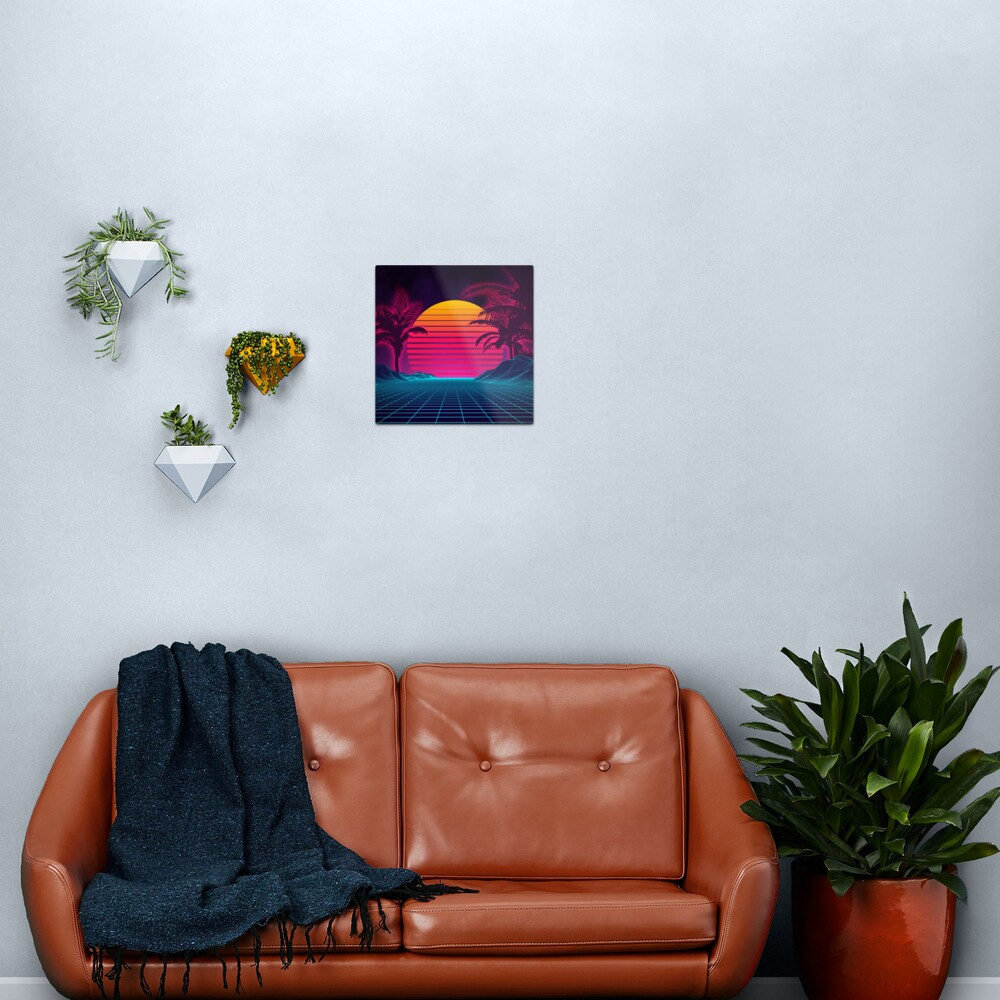 Retrowave 80's Sunset Palm Tree Landscape Metal Print