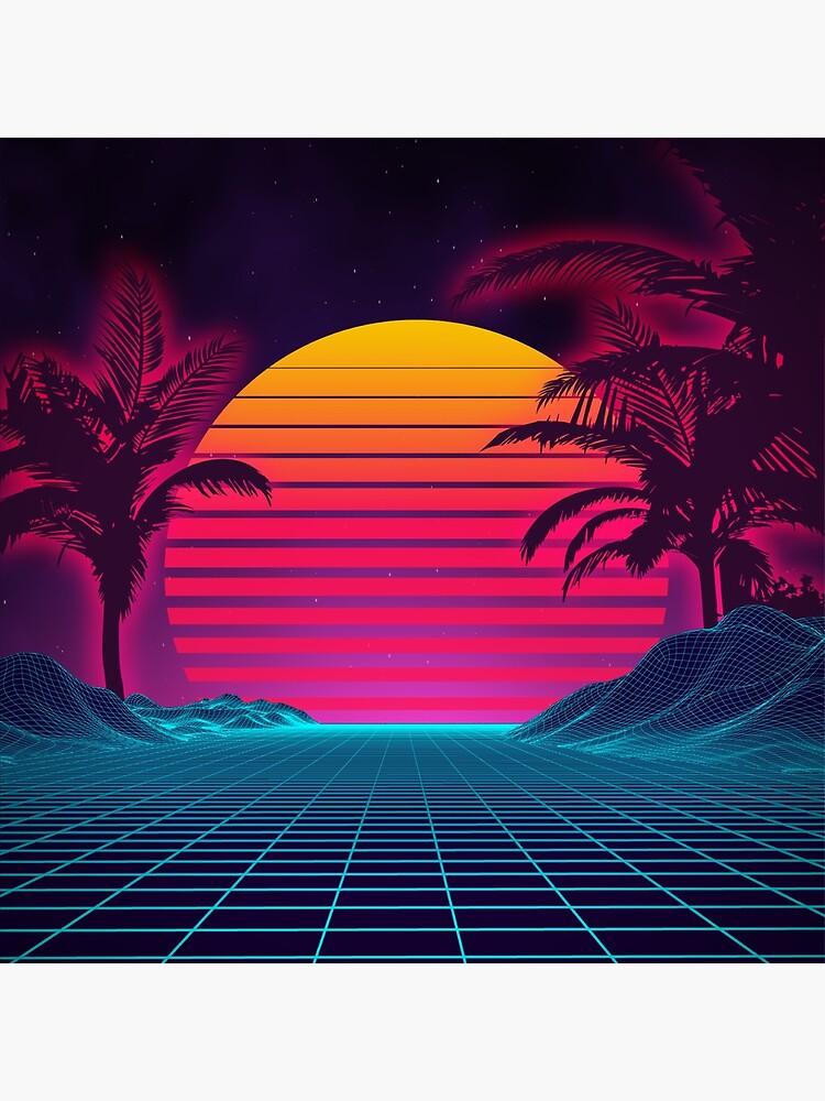 Retrowave 80's Sunset Palm Tree Landscape by Starquake