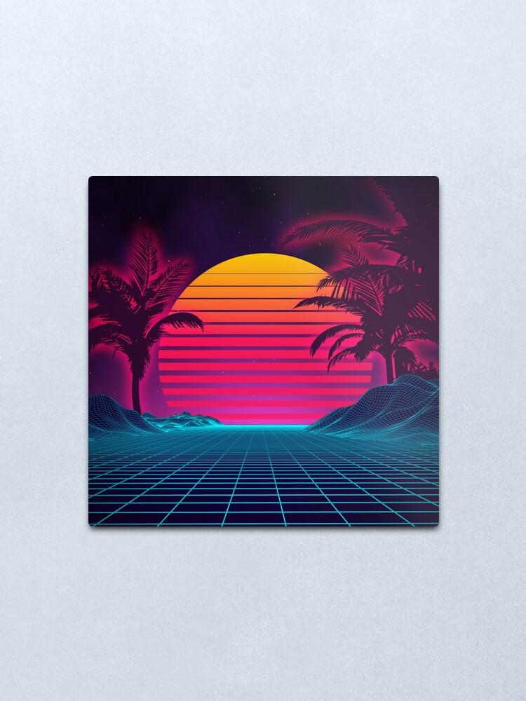 Alternate view of Retrowave 80's Sunset Palm Tree Landscape Metal Print