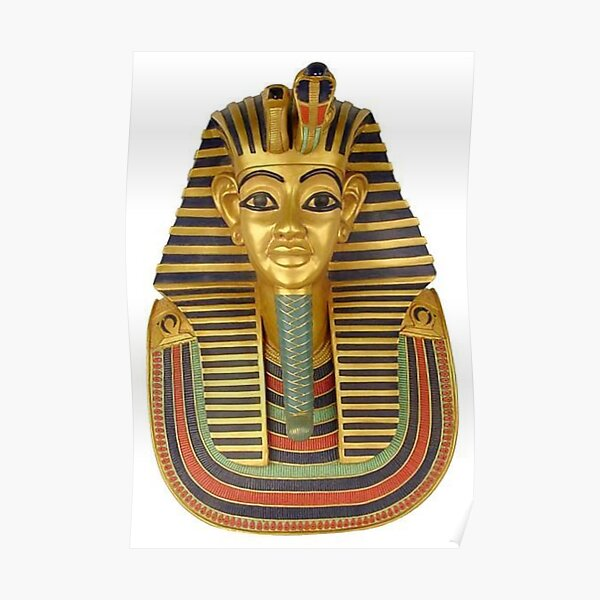 #ANCIENT #EGYPTIAN #ARTIFACTS: Funerary Mask of King Tutankhamun Plaque (Life size) : Egyptian Museum, Cairo, 1347-1237 B.C. Poster