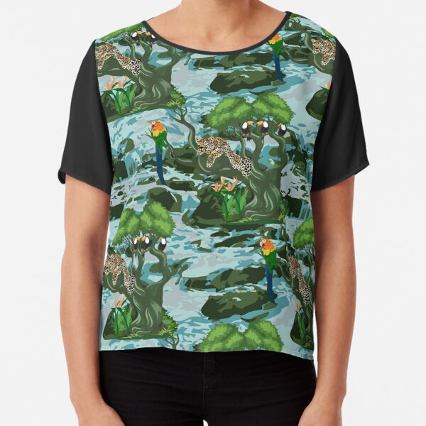 Tropical Rainforest with relaxed Leopard on tree, Macaw and Toucans Chiffon Top