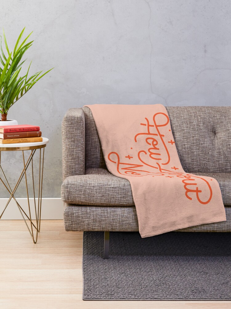 Alternate view of How About No - Black and white hand lettered quote Throw Blanket