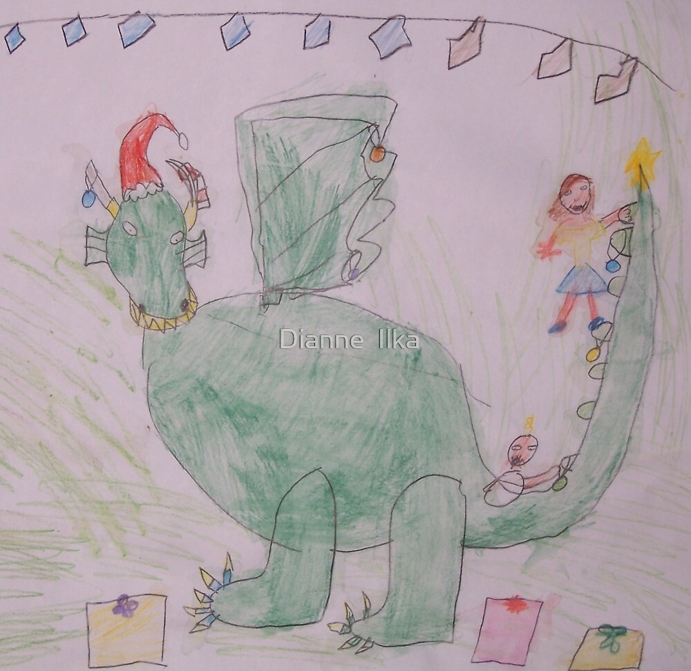 Christmas Dragon (by my 7 year old) by Dianne  Ilka