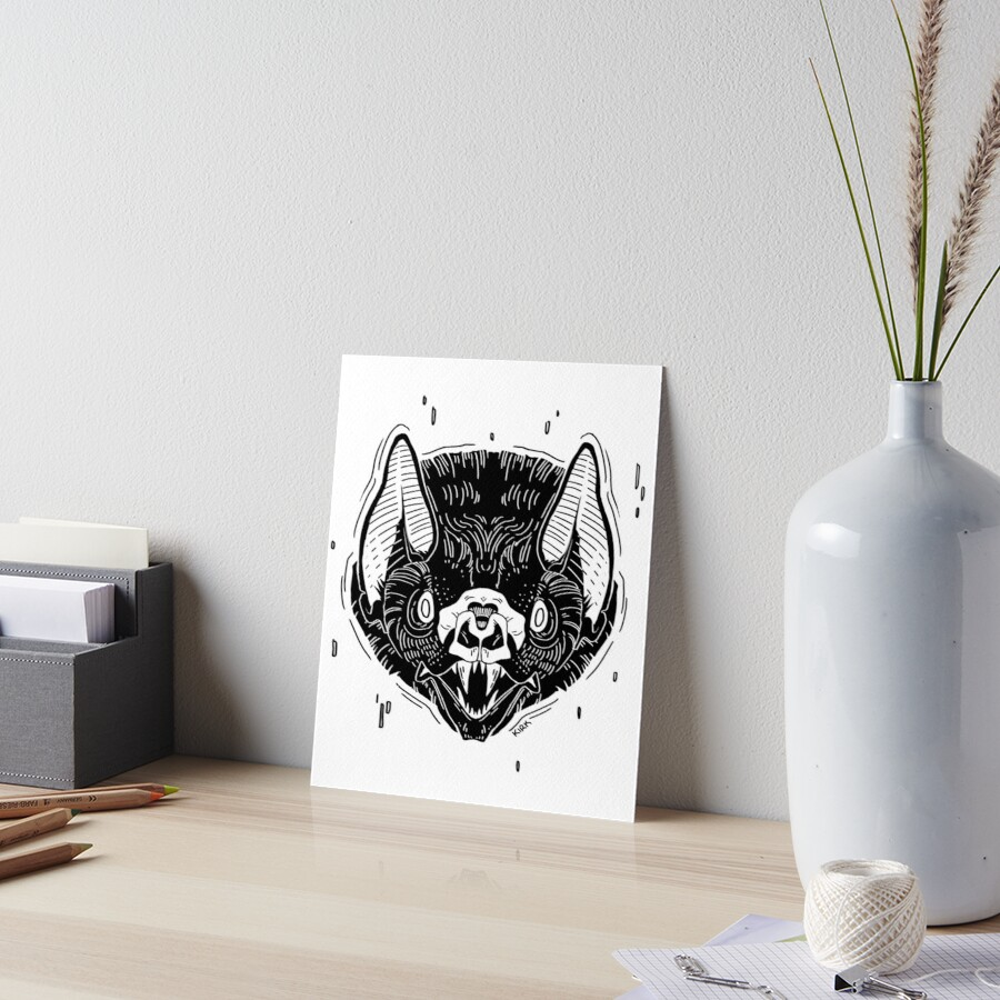 Bat Face -White Art Board Print