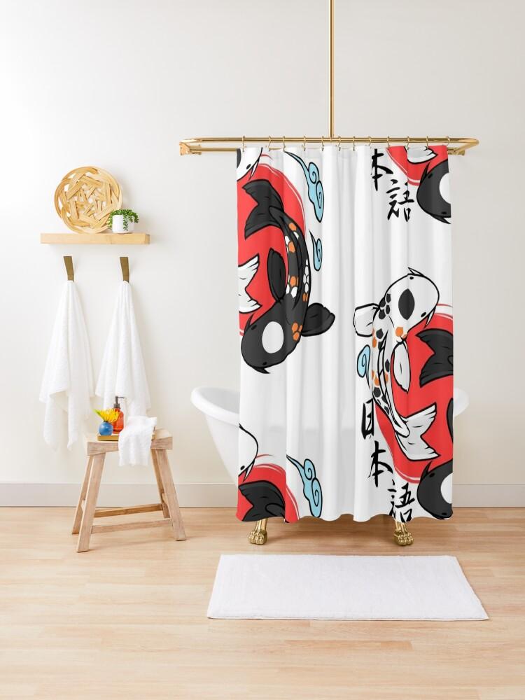 Japanese Yin Yang Koi Fish Shower Curtain By Novapixie Redbubble