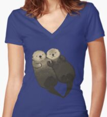 Significant Otters - Otters Holding Hands Women's Fitted V-Neck T-Shirt